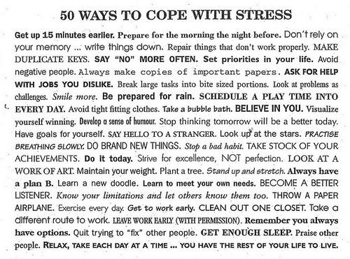 50 modos de lidar com o stress