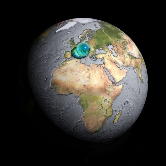 Proporção entre a Terra e o volume água existente nela
