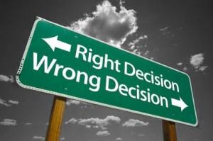 Decisão certa x Decisão errada