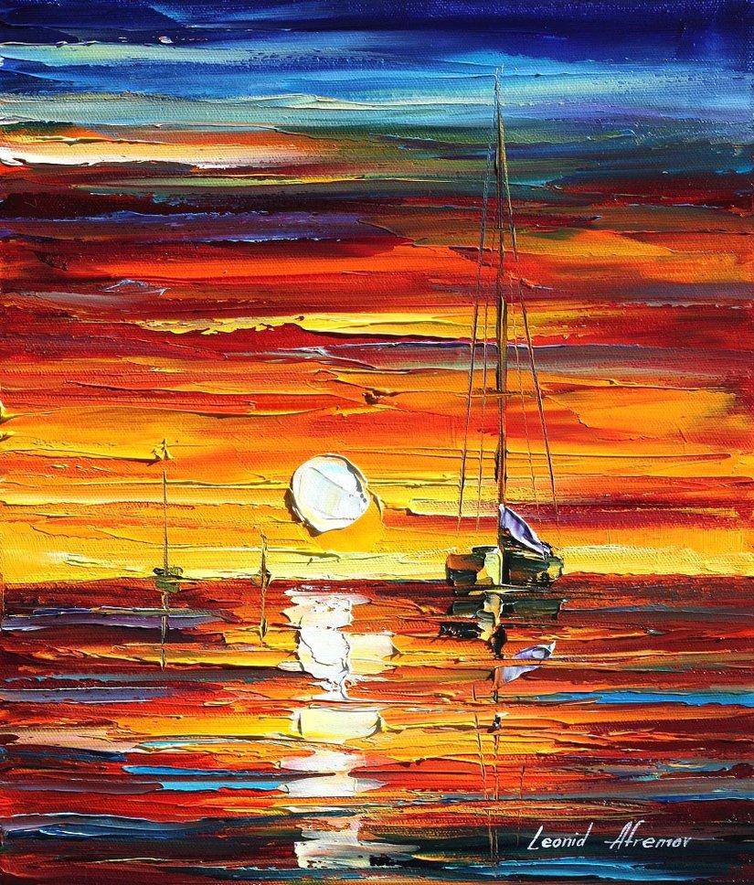 Leonid Afremov - Pôr-do-sol Laranja