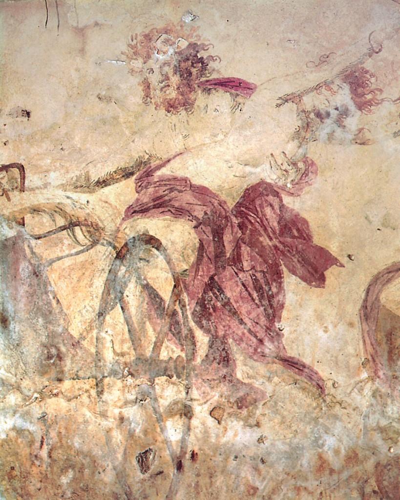 """Detalhe de pintura da parede do """"Túmulo de Perséfone"""", Vergina, Macedônia. Datada de 340 a.C."""
