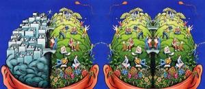 A diferença entre os lados direito e esquerdo do cérebro normal e de um cérebro idealista