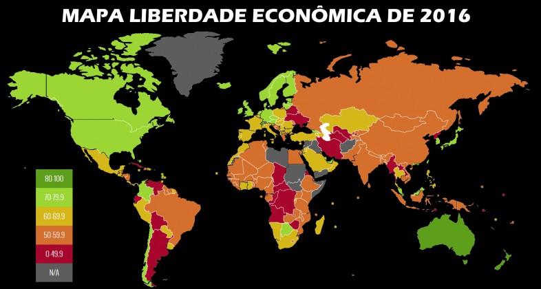 Mapa demonstrando o Liberalismo econômico pelo mundo