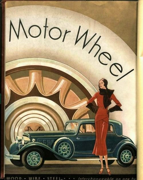 1930s Motor Wheel Ad, artist unknown