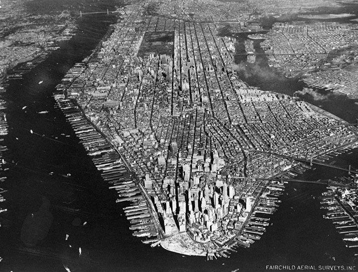 Uma vista aérea da cidade de Nova York em 1951