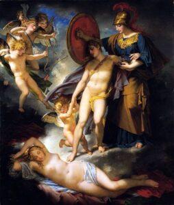 A Sabedoria defendendo um jovem do Amor - Charles Meynier